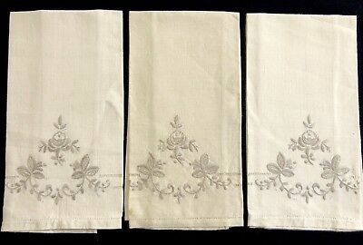 Set Of 3 Vintage Madeira Embroidered Ivory Linen Guest Hand Huck Towels (RF843)