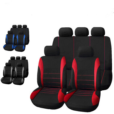 9Pcs Universal Car Seat Covers Front Rear Back Head Rest Full Set Auto Protector