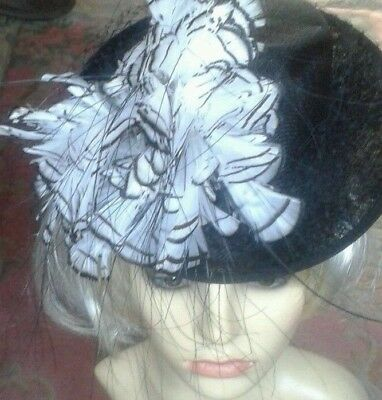 Ladies formal hat ~ vintage style black and white feathers netting Wedding Racin