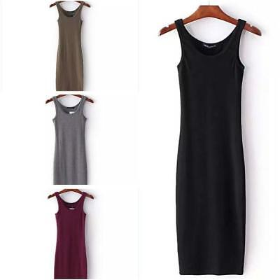 New Womens Knitted Sleeveless Bodycon Evening Long Dress Stretch Cotton Top C