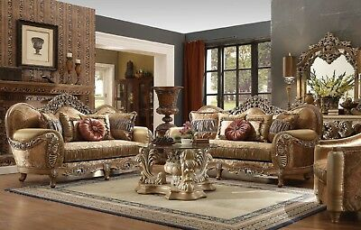 CLASSIC ANTIQUE BROWN European Formal Living Room Set, Sofa Set, Love Seat  Chair