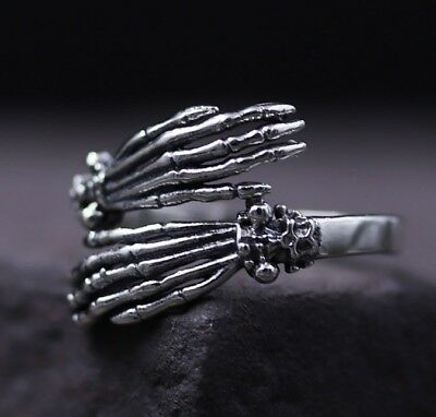 Antique 925 Sterling Silver Gothic Skull Skeleton Hand VINTAGE ring rings S2418