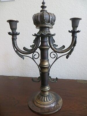 Antique French solid Brass Heavy 2 Candle Holder Candelabra w Crown top 15.80""
