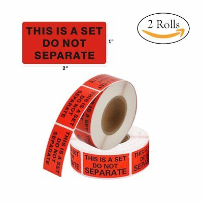"""2 Roll 1""""x2"""" Care Stickers Self Sealing Red Warning Label For Protect Shipping"""