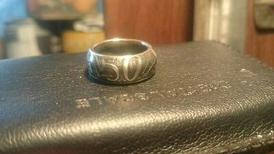 Australian 1966 Round Fifty 50 Cent Custom Handmade Coin Ring Size Aus O to Z