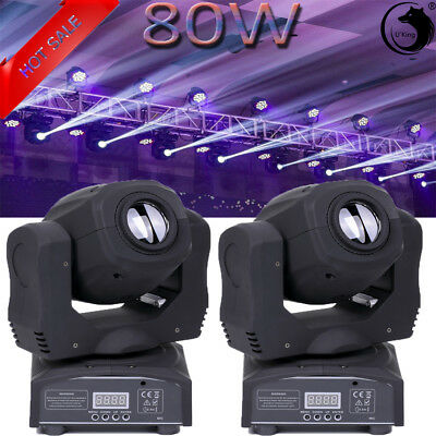 2PCS 80W 8 Pattern Light DMX LED Moving Head Light DJ Party Stage Lighting Disco