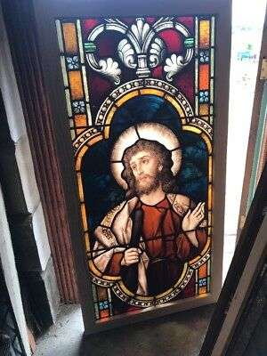 SG 2459 antique painted in fired St. James Munich Meyer Stainglass window 29 x …