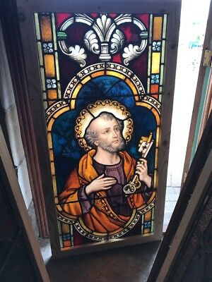 SG 2461 antique Meyer Munich Saint Peter painted and fired Stainglass window