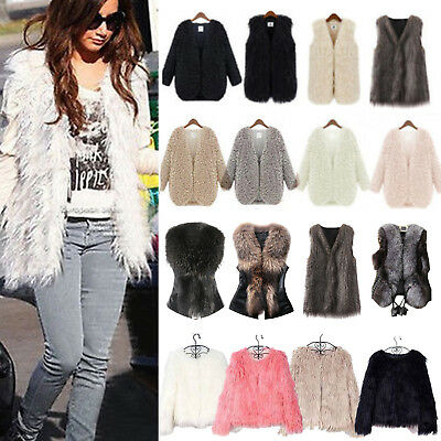 Women Fluffy Shaggy Faux Fur Waistcoat Vest Winter Gilet Coat Cardigan Jackets