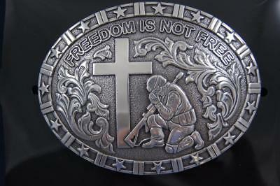 Nocona FREEDOM IS NOT FREE Belt Buckle Soldier Praying at Cross 37985