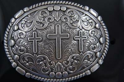 Nocona Western silver tone Belt Buckle Oval Rope Edge 3 Cross Scrolling 37980