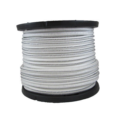 """USA 1/8"""" x 500' Bungee Cord Shock Cord White with Black Tracer"""