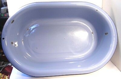 Vintage Blue Enamel Enamelware Large Oval Metal Baby Bath Basin Bathtub 28 X 18