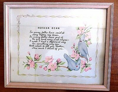 "Vintage Art Deco Motto Print ""Mother Dear"" Signed Averill 10 3/4"" x 8 3/4"""