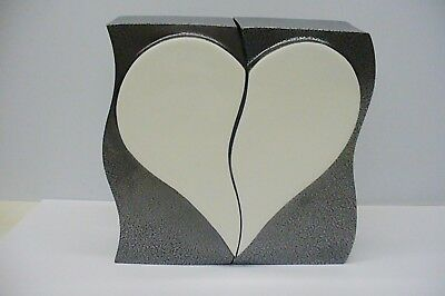 Dark grey double aluminum funeral cremation urn companion white ceramic heart.