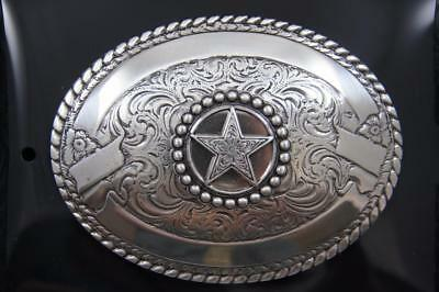 3-D TEXAS w// STAR ~Silver Western Belt Buckle~ Square Heart of Texas 37528