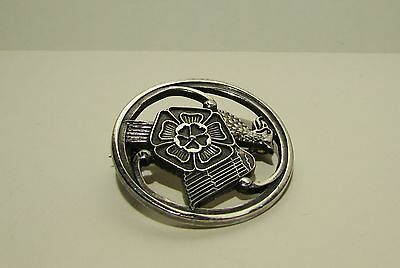 Fully Hallmarked Solid Silver Griffin Brooch with Tudor Rose