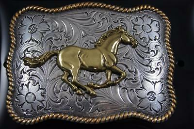 Nocona Western Running Horse Roped Edge Belt Buckle Silver and Gold tone 3757452