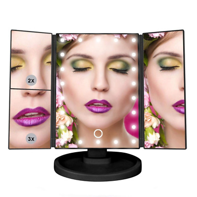 Makeup Vanity Mirror 21 LED Lights 3X/2X Magnifying Mirror Touch Screen Cosmetic