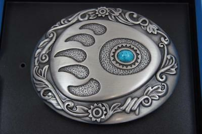 Nocona Western Oval Belt Buckle Stone Bear Paw Silver with Turquoise 37952