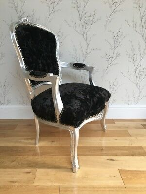 French Louis style Shabby Chic Black Crushed Velvet Chair / Silver wooden frame