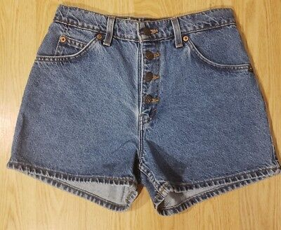 """VTG 90s Levis High-Waisted Button Fly Denim Jean Mom Shorts JRS Sz 4(?) 11"""" Rise"""