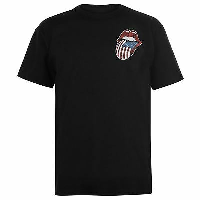 The Rolling Stones USA Tongue T-Shirt Mens Black Tee Shirt Tshirt Top