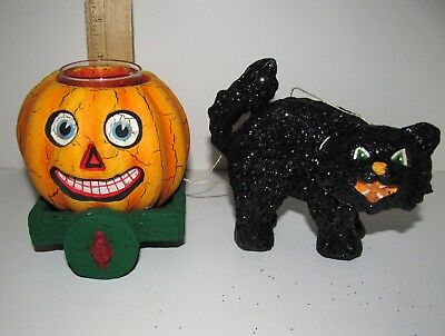 Vintage Style Halloween Paper Mache Black Cat with Jack-o-lantern Candle Holder