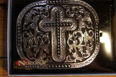 Nocona Silver and Black Tone Cross Belt Buckle 3703636 M & F Western
