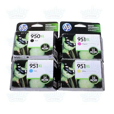 4pk Genuine HP 950XL Black + 951XL 3-Color Ink OfficeJet 8620 8600 8630 - In Box