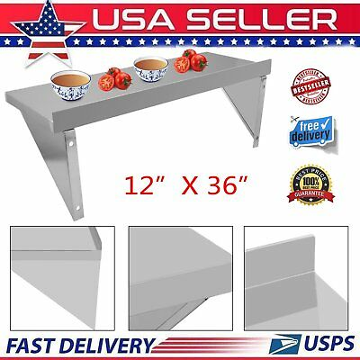 "Stainless Steel Commercial Kitchen Wall Shelf Restaurant Shelving - 12"" x 36"""