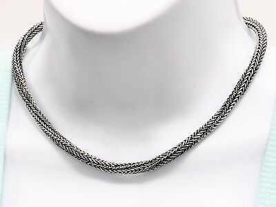 "Bali Round Braided Snake Rope Chain Necklace 925 Sterling Silver 16"" Long 6 mm"