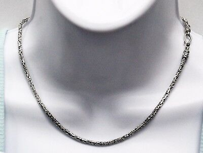"Bali Byzantine Borobudor Chain Necklace 925 Sterling Silver 16"" Long 3mm Thick"