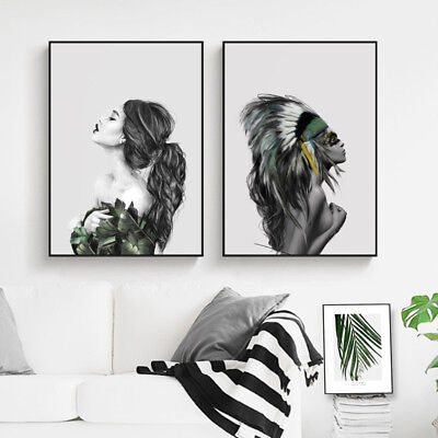 Modern Abstract Women Canvas Art Poster Print Wall Picture Home Decor Unframed
