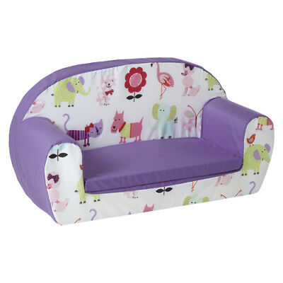Cute Pets Purple Kids Children's Double Foam Sofa Toddlers Seat Nursery Chair