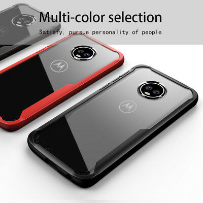 For Motorola Moto Z2 Z3 Play G6 G5S E5 Plus Clear TPU Acrylic PC back Cover Case