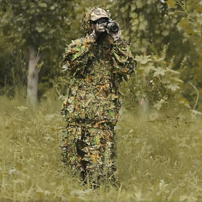 3e28eb85b1825 Hunting Military Army Ghillie Suit 3D Jungle Camo Leaf Camouflage Clothing  NEW