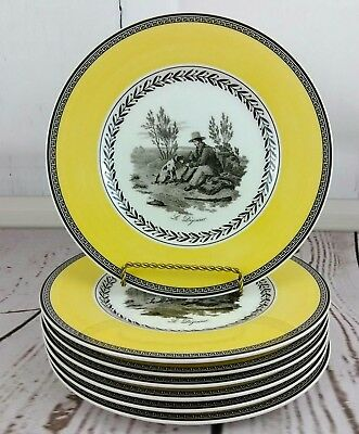 Lot of 7 Villeroy & Boch Audun Chasse Salad Plates Pattern #1748 Yellow Black