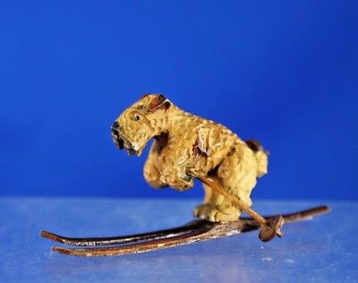 """Vintage Hand Carved Terrier Dog on Skies, 2"""" Tall"""