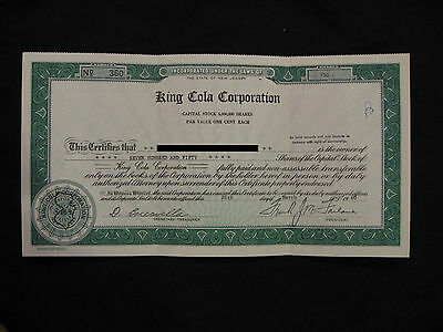 1960 King Cola Corporation Stock Certificate 750 Shares