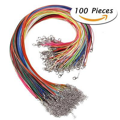 """100Pcs 18"""" 1.5mm Braided Wax Cord Cotton Necklace for DIY Jewelry Making #N"""