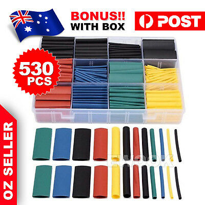 530 Pcs Heat Shrink Tubing Tube Assortment Wire Cable Insulation Sleeving Set