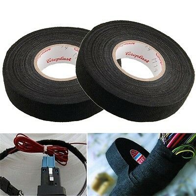 19mmx 15M Adhesive Cloth Fabric Tape Cable Looms Wiring Harness For Car Auto Td