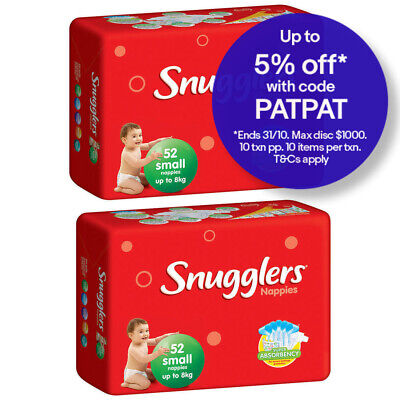 104PK Snugglers Small Size 8kg Super Absorbency Nappy/Diaper Unisex Infant/Baby