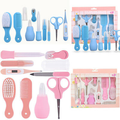 AU 10pcs Baby Infant Nail Hair Health Care Set Grooming Thermometer Brush Kit