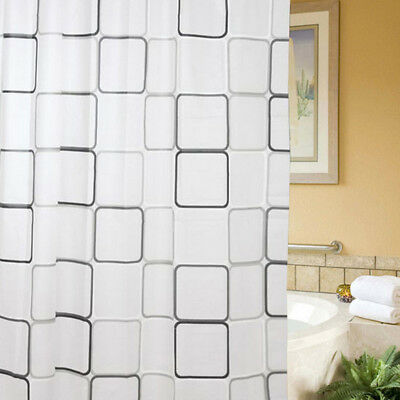 NEW Waterproof Fabric Bathroom Shower Curtain with Ring Hooks Set 180x200cm