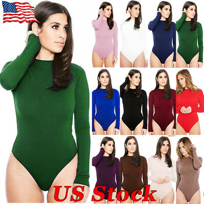 US Women Long Sleeve Bodysuit Leotard Tops Blouse Jumpsuit Rompers Bodysuit Tank
