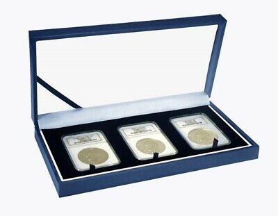 Box For 3 Graded Coins Slab Case Gift/ Display Blue Storage Set New Guardhouse