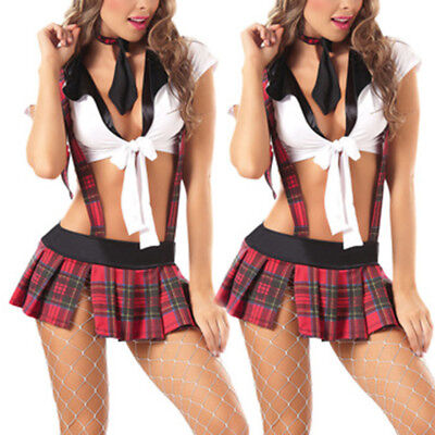 Sexy Womens Lingerie School Girl Uniform Dress Costume Outfit Roleplay Halloween