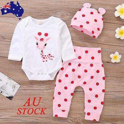 AU Baby Girls 3PCs Outfit Set Hat Bodysuit Pant Toddler Polka Dot Romper Clothes